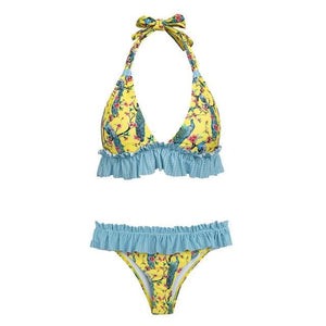 brandnewer - Flower Print Ruffle Triangle Push up sexy Halter top swimsuit
