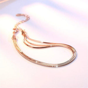 brandnewer - Real Pure 925 Sterling Silver Flat Snake Rose Gold Chain Bracelet