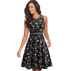 brandnewer - Vintage Elegant Embroidery Floral Lace Flare Swing Dress