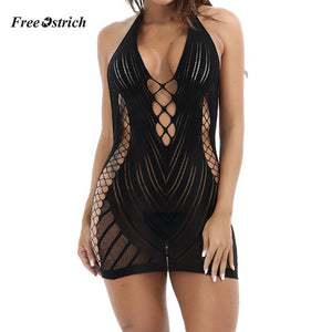brandnewer - Black Chemise Dress with sexy sides slits and open low cut front