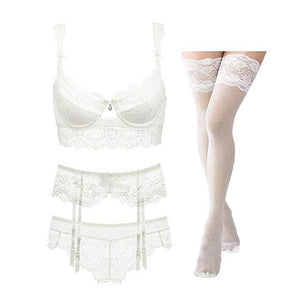 brandnewer - Sexy lace thin cotton cup breast bra set (bra+panty+garter belt +stocking)
