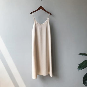 brandnewer - Tank Dress Casual Satin Sexy Camisole Elastic Dress