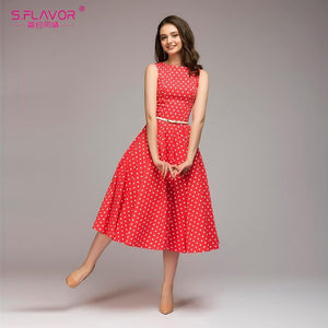 brandnewer - Elegant Summer Dots Printed Sleeveless O-neck Dress