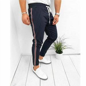 brandnewer - Casual Ankle-Length Elastic Strap Striped Trousers