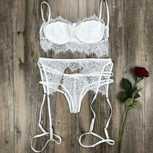 brandnewer - 3/4 Cup Lacy Floral Garter Bra and Brief Lingerie