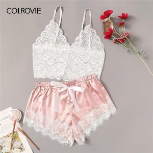 brandnewer - Floral Lace Cami Top With Satin Shorts Lingerie Set