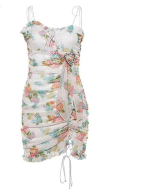 brandnewer - Elegant Designed Floral Mini Bohemian Sexy Lace Up Dress