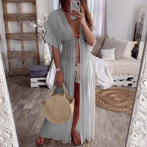 brandnewer - Ladies Stylish Dress Solid Color Sundress Casual Lace Up Summer Bikini Cover Up