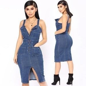 brandnewer - Backless Sexy Split Denim Dresses