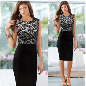 brandnewer - Lace Patchwork Formal Business Slim Pencil Dress