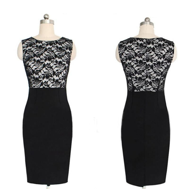 Lace Patchwork Formal Business Slim Pencil Dress