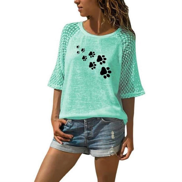 brandnewer - Cute Dog Paw Women's Top