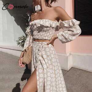 brandnewer - Off The Shoulder Ruffle Floral Print Two Piece Dress