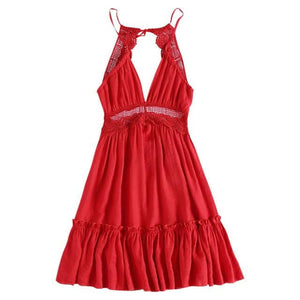 brandnewer - Sexy Backless V Neck Ruffles Mini Dress