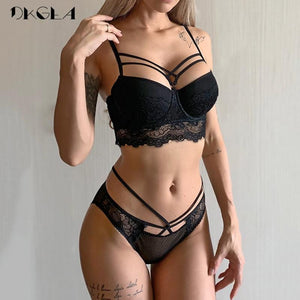 brandnewer - Bandage Black Embroidery Cotton Bras Lace Lingerie