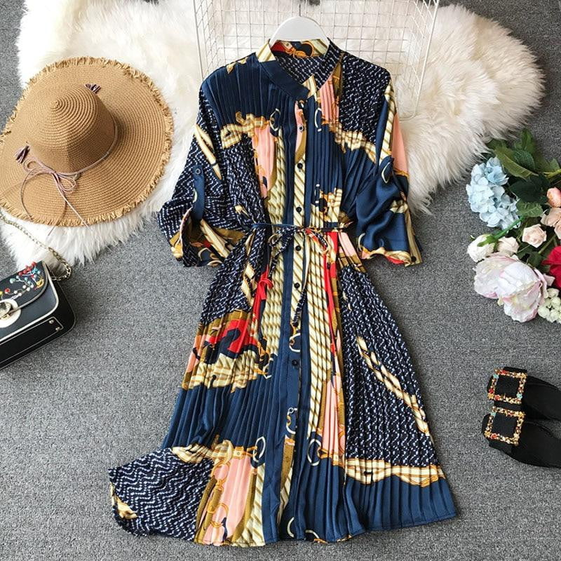 Summer Printed Long Sleeve Waist Tie Printed Dress
