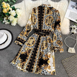 brandnewer - Summer Printed Long Sleeve Waist Tie Printed Dress
