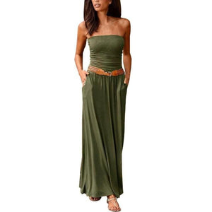 brandnewer - Off the Shoulder solid color Maxi Dress