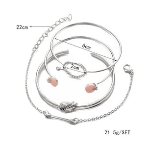 brandnewer - Trendy Bracelet Set Simple Knot Circle Crystal Arrow Charm Bracelets