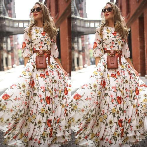 Floral Long Dress Half Sleeve O-Neck Elastic High Waist Loose Print Dress