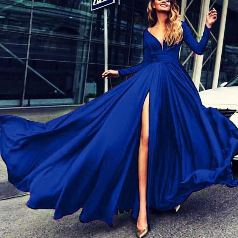 Sexy Deep V-Neck Full Sleeve Split Evening Gown