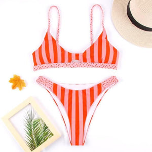 brandnewer - Ruffle Bandage Floral Bow Bikini Swimsuit