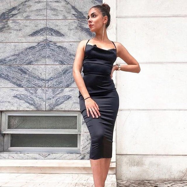 brandnewer - Satin sleeveless bandage backless elegant dress