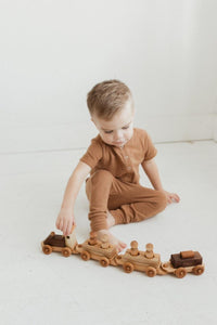 Wooden Toy Train with Peg Doll Riders