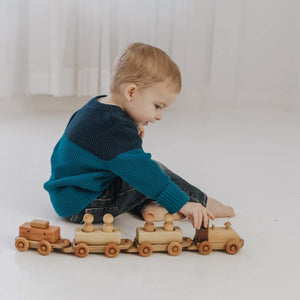 Wooden Train Toy with Peg Doll Riders