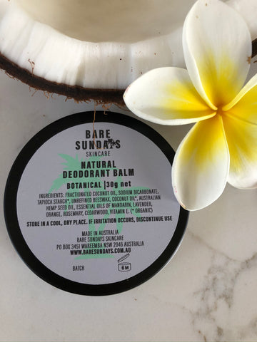 30G NATURAL DEODORANT BALM  | BOTANICAL | FREE SHIPPING