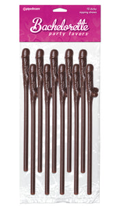 Bachelorette Party Favors 10 Dicky Sipping Straws Brown PD6203-04