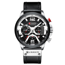 Load image into Gallery viewer, Men's luxury sport watch, quartz, water resistant, leather band, cronograph, calendar. Reloj de lujo deportivo para hombre, pulso de cuero, resistente al agua, movimiento cuarzo.