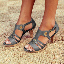 Load image into Gallery viewer, Womens low heel casual sandals, buckle strap, synthetic leather.  Sandalias de mujer de tacón bajo con cerradura de hebilla, cuero sintético.