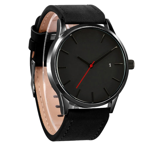 Mens casual wristwatch with calendar, leather band, sport style, not waterproof.  Reloj de hombre estilo sport con calendario y pulso de cuero, no resiste el agua.