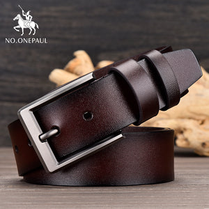 Men's designer's high quality cowhide leather fashion belt alloy business style pin buckle