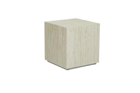 Elle Block Side Table - Travertine