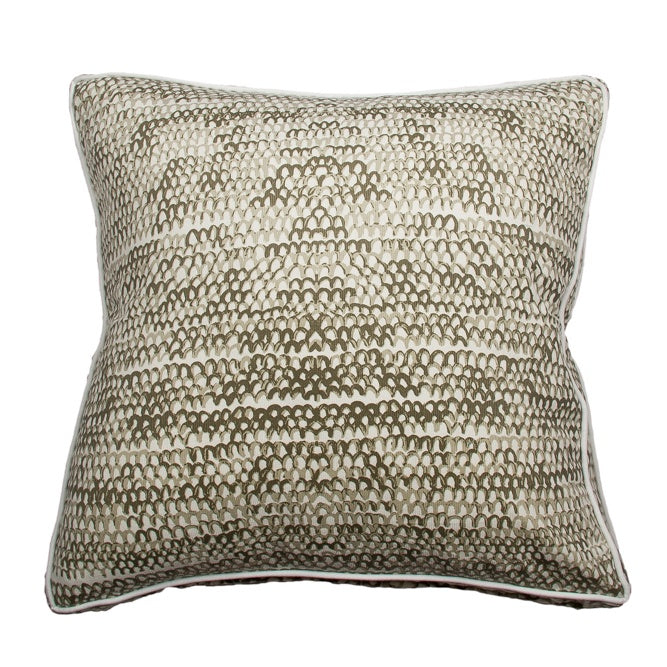 Handpainted Fishscale Cushion  - Clay