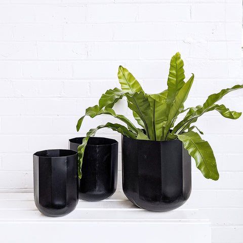 Faceted Black Planter