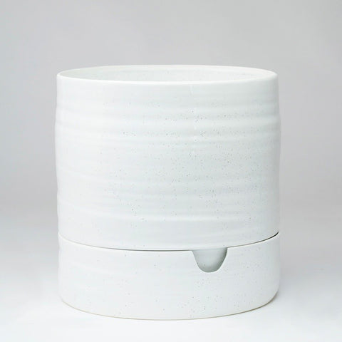 Self Watering Plant Pot Tall - White Speckle