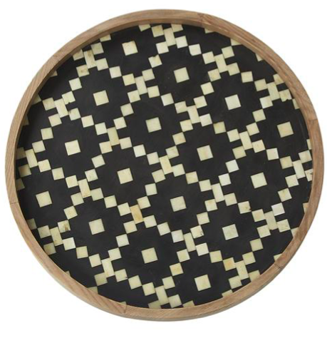 Fair Isle Bone Inlay Tray - Black