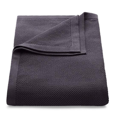 Knitted Cotton Throw - Charcoal