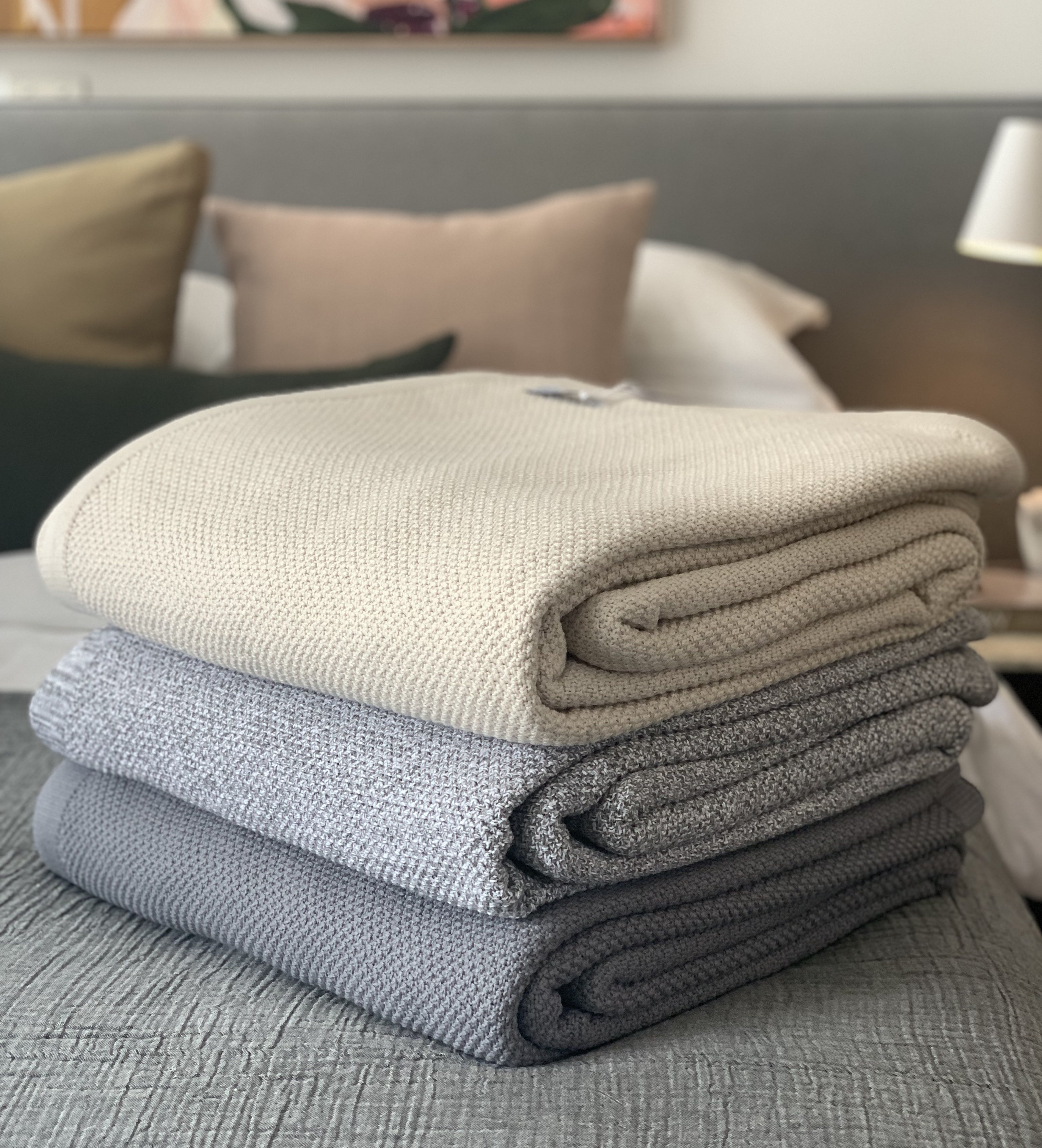 Knitted Cotton Throw - Mid Grey