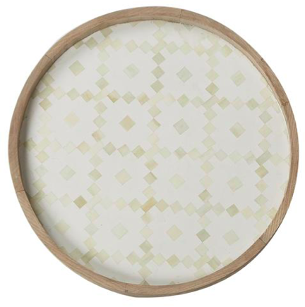 Fair Isle Bone Inlay Tray - White
