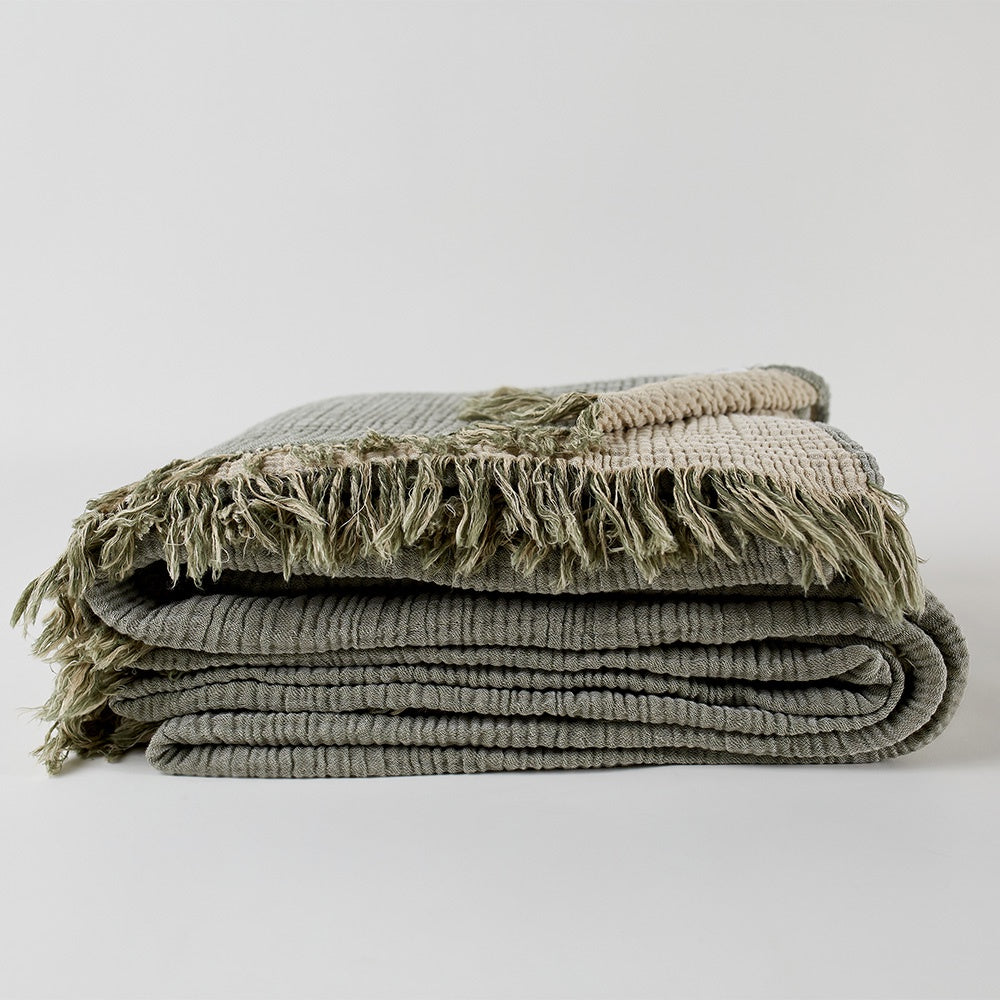 Enes Throw - Olive/Clay