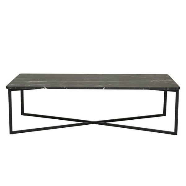 Elle Luxe Rectangular Marble Coffee Table - Black