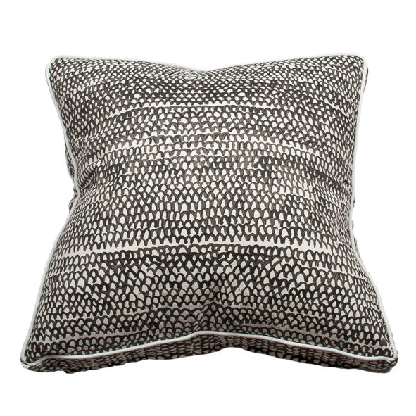 Handpainted Fish Scale Cushion - Charcoal