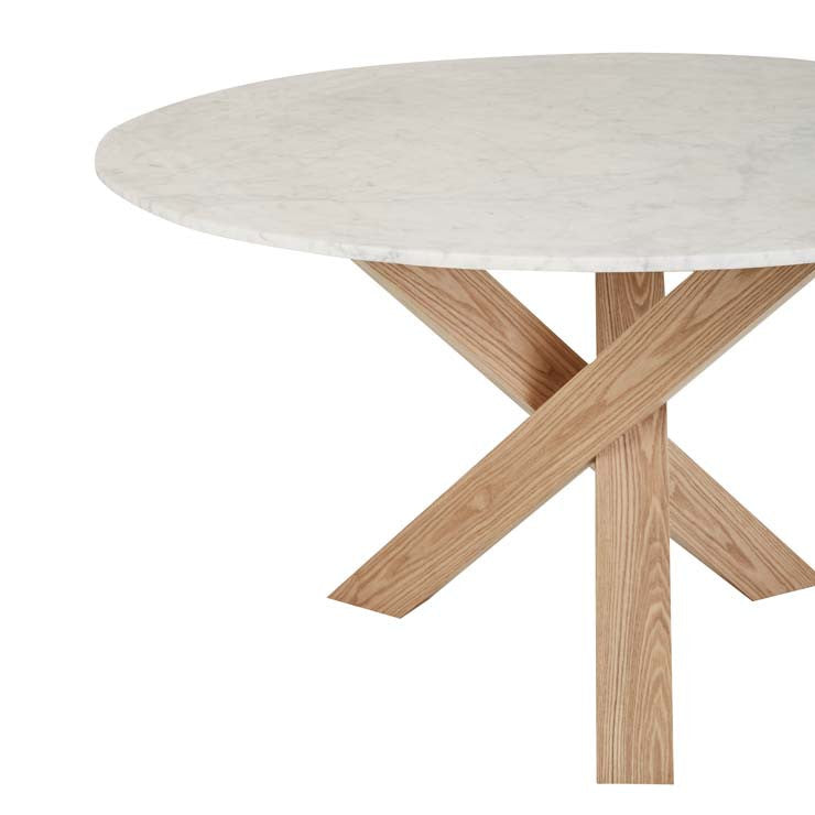 Hudson Round Marble Dining Table - Natural