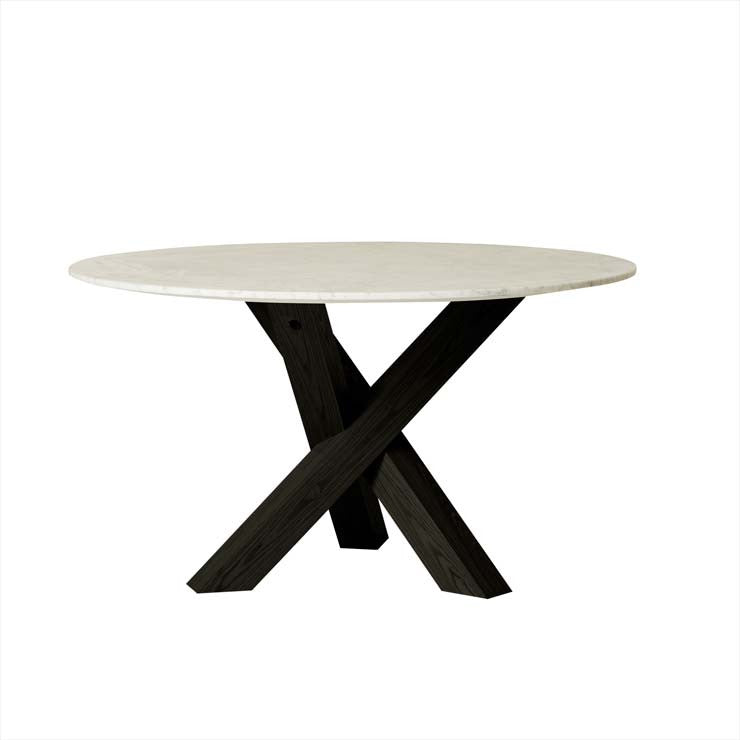 Hudson Round Marble Dining Table - Dark Oak