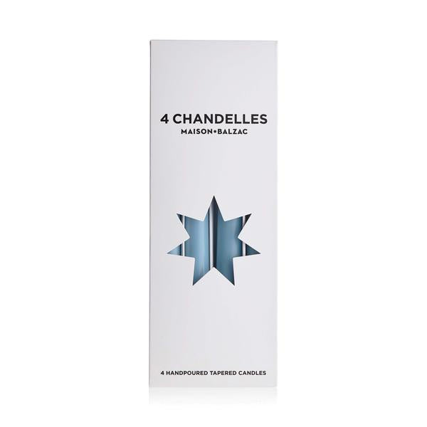 4 Chandelles - Tapered Candles - Sky