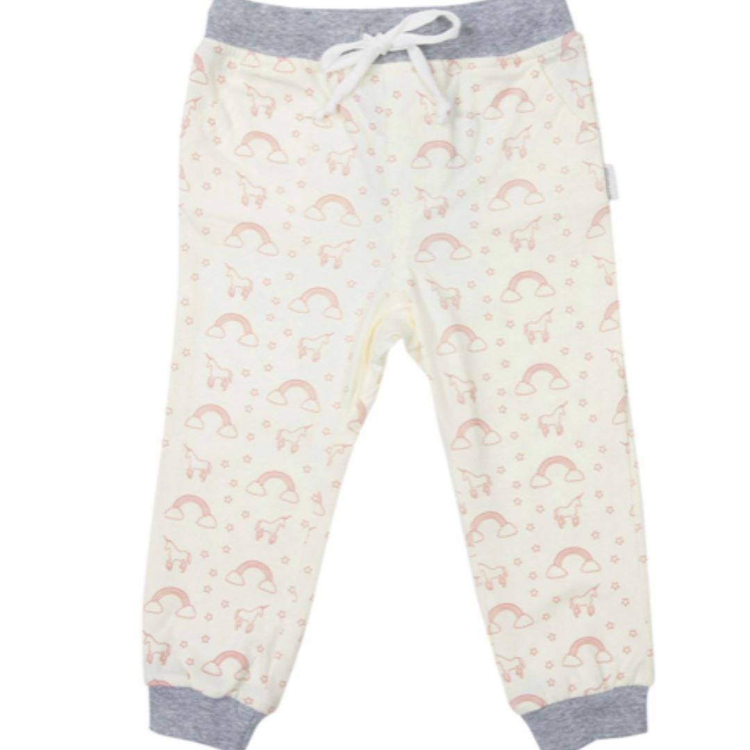 Korango Unicorns and Rainbows Cotton Pant Baby Pants Korango 0-3mnths Cream